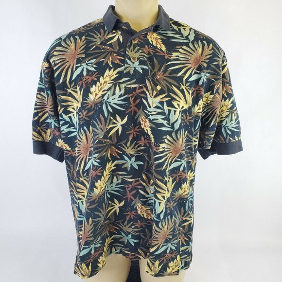 Cutter & Buck Nature Leaves Black Polo Tropical
